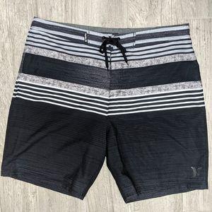 Hurley Swim Trunks Black Gray Stripes 36